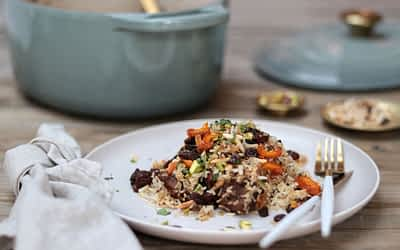 Raisin, Peach and Pistachio Lamb Pulao